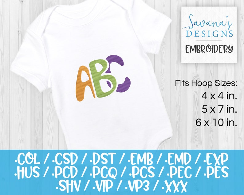 ABC Embroidery Designs Csd Machine Embroidery Nursery Embroidery Emb Files Dst Embroidery Pattern Vp3 Pes Baby Embroidery