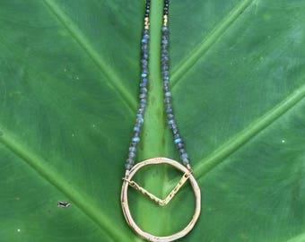 Labradorite + Spinel Gold Pendant necklace