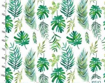 fcd2ba70aa4f Palm Frond Fabric    Quilting Cotton    Cotton Woven    100% cotton     Tropical Fabric    Tropicale by 3 Wishes