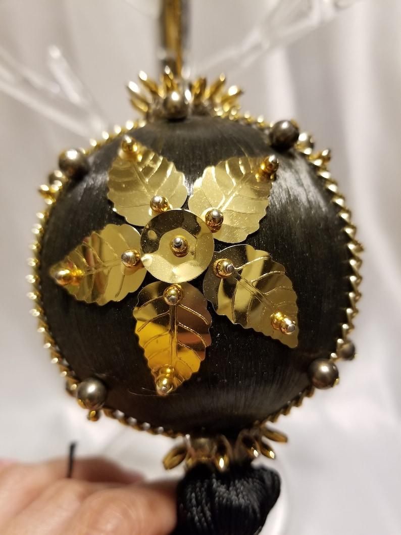 Vintage black /& gold silk sphere ornament
