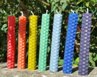 "Hand Rolled 4"" Beeswax Candles - Coloured"