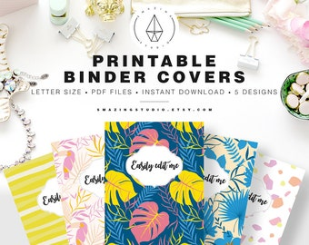 Binder Cover Printable Set Of 5 Covers Spines Insert Planner Teacher School