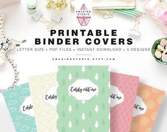 Binder Cover Printable, Set of 5 Covers + Spines, Binder Insert, Planner Cover, Teacher Binder, School Binder Insert, Binder Cover Template