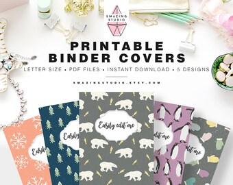 binder cover printable set of 5 covers spines binder etsy