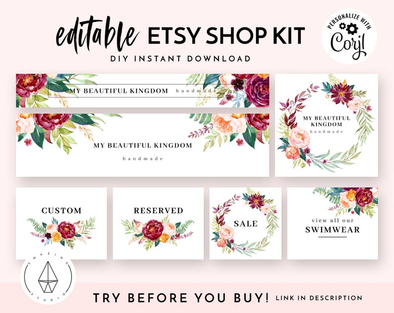 7bd25f167b85f Etsy Shop Banner Set, Etsy Shop Kit, Etsy Shop Graphics, Store Icon, Banner  Template, Corjl Editable Banners, Etsy Banners DIY, Watercolor