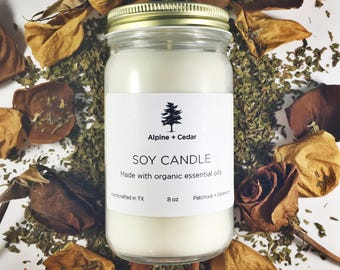Patchouli + Geranium Soy Candle / Essential Oil Candle / Organic Soy Candle / Gift for Her / Sensual + Comforting Candle / Strongly Scented