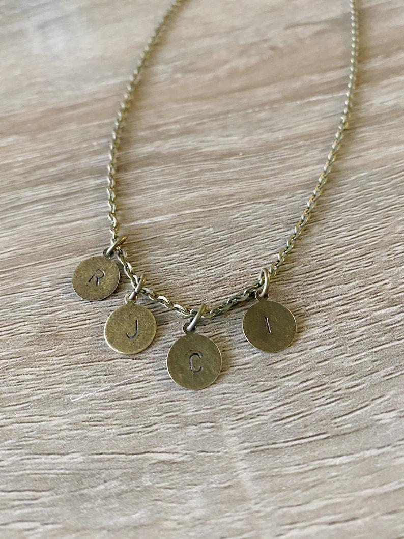Monogram Necklace Handmade Hand Stamped