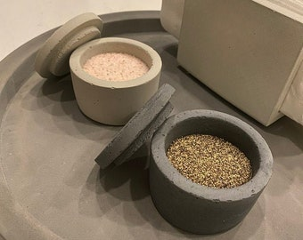 Salt and Pepper Cellar Set with Lid, Concrete  Salt and Pepper Pinch Bowl, Kitchen Gifts, Modern Home