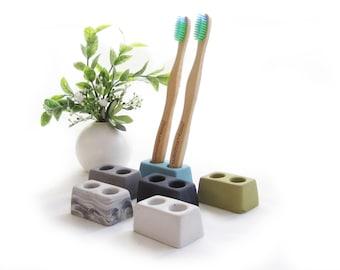 Toothbrush Holder, Toothbrush stand , Modern bathroom, Minimalist Bathroom, ,Concrete toothbrush holder, cement toothbrush holder 2