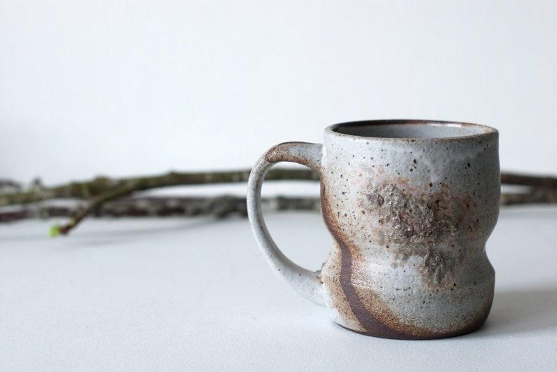 62fa028220a 12 oz Rustic Ceramic Coffee Mug Matte White and Wood Ash   Etsy