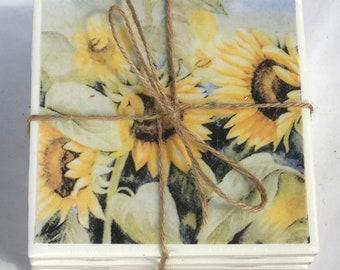 Sunflower Ceramic Tile Coasters