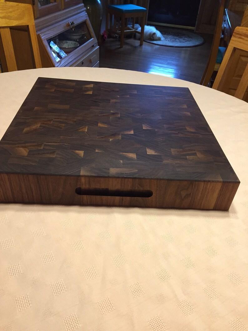 Thick end grain walnut cutting board.