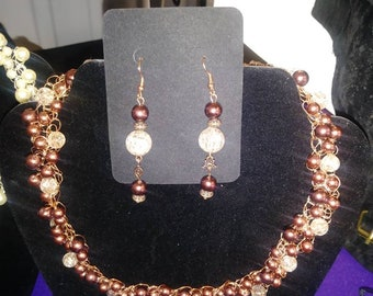 Classy Faux Pearl Necklace and Earrings Set