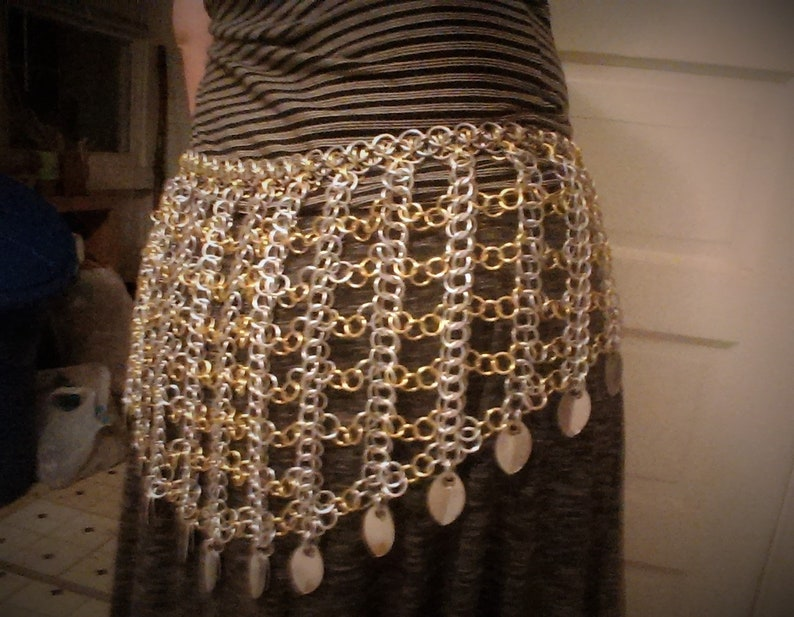 Belly Dance Hip Scarf Chainmail Skirt Persian Chainmaille Belt Helm Chainmail Scalemaille Larp Armor Silver and Gold Belly Dance Belt