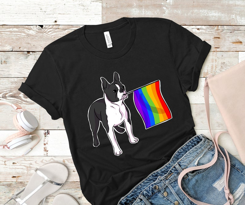 fc7da294 Gay Pride Boston Terrier Dog Lover Shirt Rainbow Flag Pride | Etsy