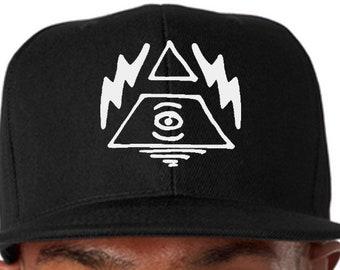 67025b3606a UNISEX -- Mystical Lightning Bolt Illuminati Flat Bill Trucker Hat