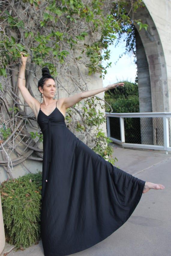 80 Black Slip Maxi Dress