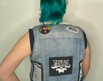 Sherpa denim punk battle vest
