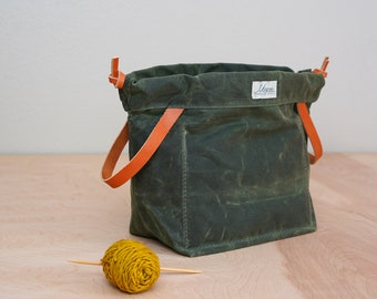 Knitting Project Bag OLIVE GREEN Waxed Canvas and Chestnut English Bridle Leather Knitting Bag for Travel Made in USA
