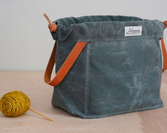 Knitting Project Bag BLUESTONE Waxed Canvas and CHESTNUT English Bridle Leather Knitting Bag for Travel Made in USA