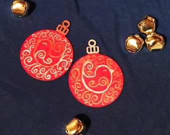 Red Hand Painted Wood Christmas Ornaments