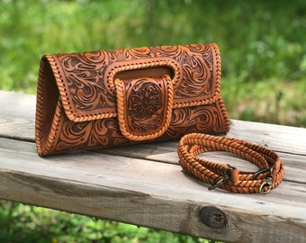 """Hand Tooled Leather Purse, Tooled Bag, Small Crossbody, Leather Clutch, """"Lengueta"""" by ALLE, Mexican bag, Gifts for Woman, black friday sale"""