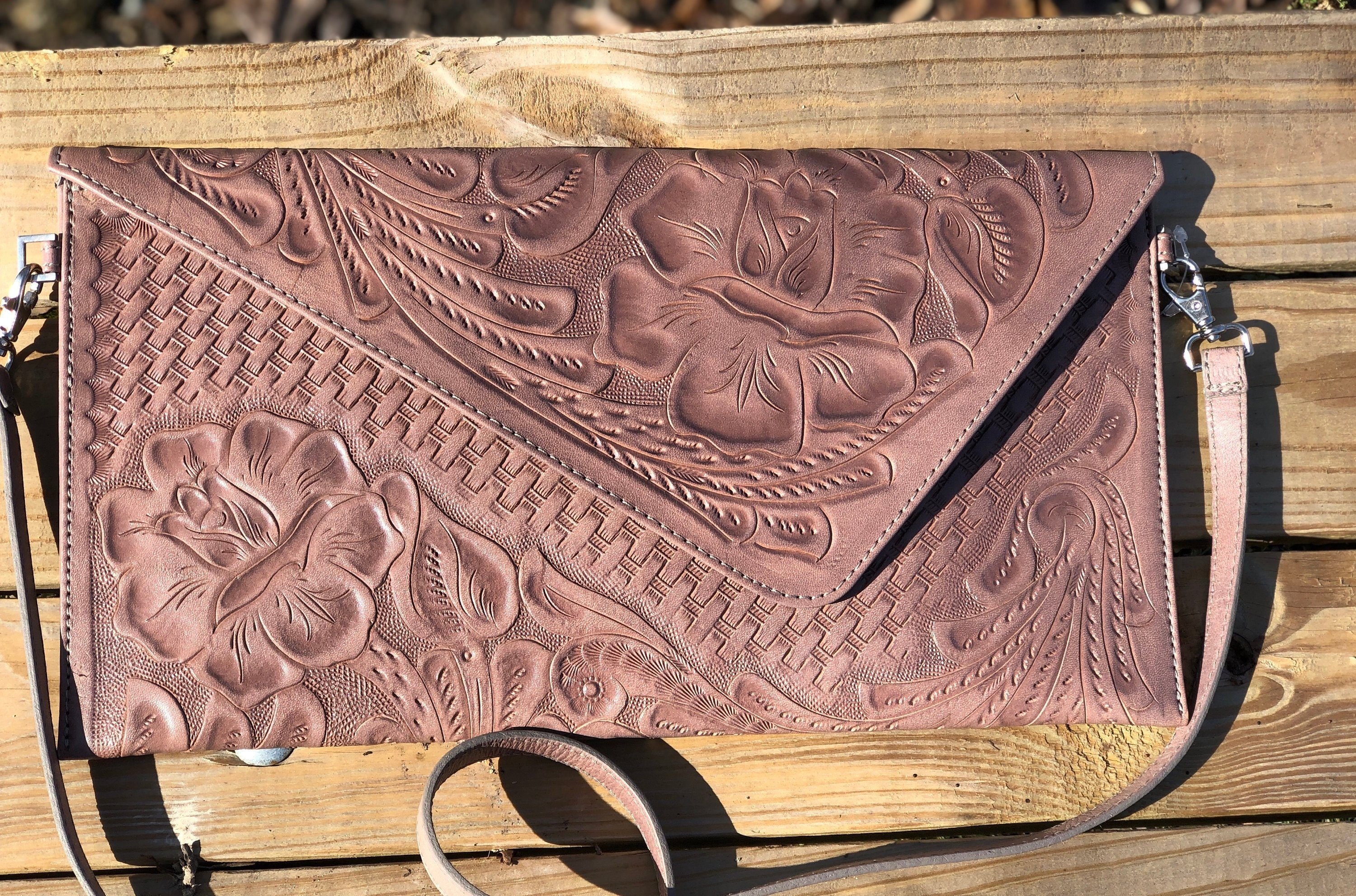 0334612ccb ALLE itzel Dust Pink Hand Tooled Leather Clutch | Etsy