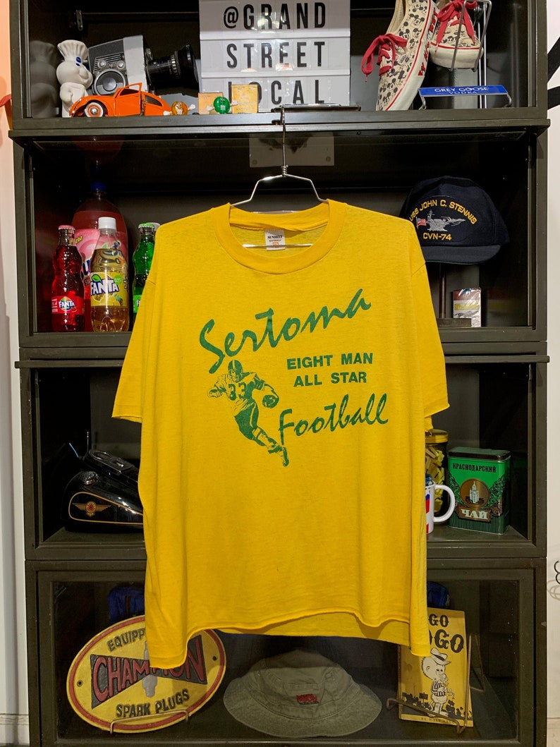 Vintage 1980s Sertoma Eight Moon All Star Football T-Shirt image 0