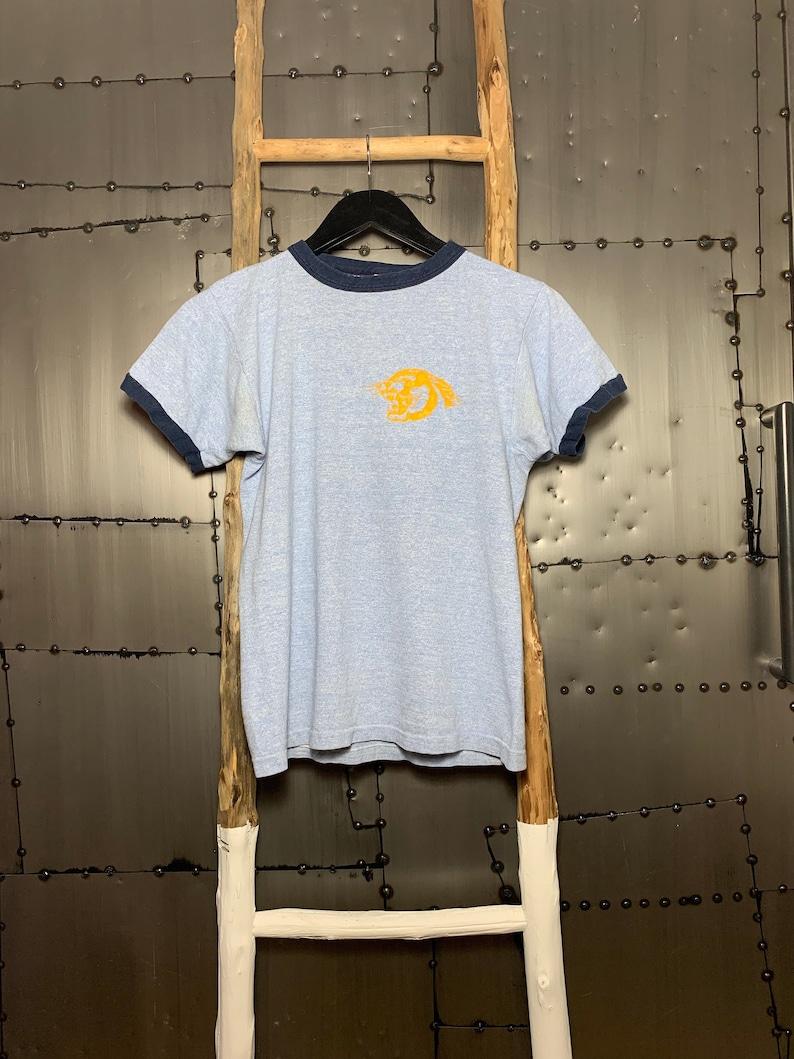 Vintage 1970s Champion Blue Bar Panther Head Ringer T-Shirt image 0