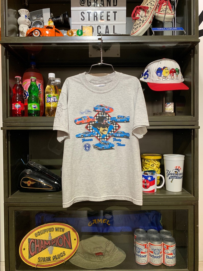 Youth Vintage 1990s Richard Petty Racing Autographed T-Shirt image 0