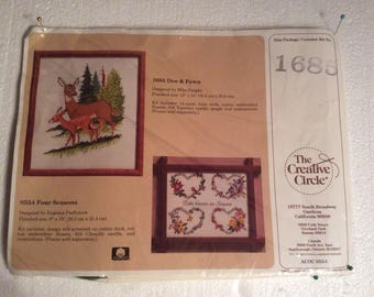 Creative Circle Counted Cross Stitch kit 1685 - Doe & Fawn