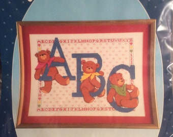 """Paragon Counted Cross Stitch Picture Kit #2541 """"A.B.C. Bears"""" fits frame 14"""" x 18"""""""
