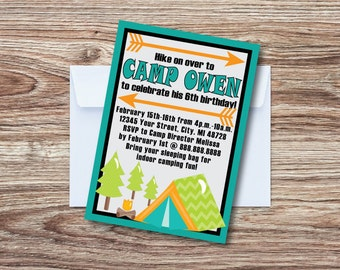 Camping birthday invitation, camping birthday printable, printable invitation