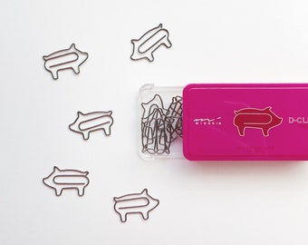 04776fae95a1 Midori D-Clips Pig Farm Animal Paper Clips • Japanese Stationery