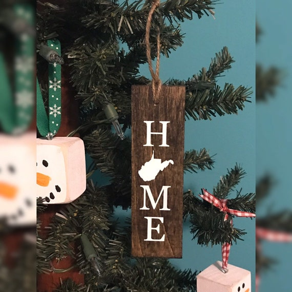 image 0 - West Virginia Home Christmas Ornament / Hand Painted WV Etsy