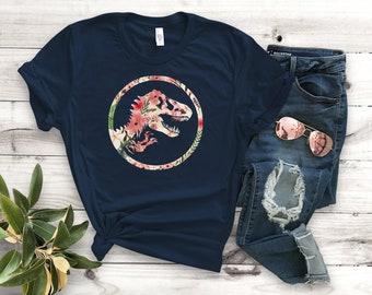 64b4437eaf6 Jurassic Park Floral Unisex T-Shirt - Unisex Clothing - Movie T-Shirts -  Fan Shirts - Dinosaur T-Shirts - Floral Designs
