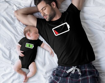 75446790 Powerfull Son and Dead Battery Father Family Matching Clothes -Father and  Son Matching Shirts-Dad and Son Matching Shirts