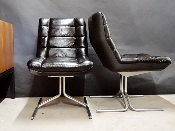 1 Von 2 Design Stuhl Sessel Lounge Chair Leder Chrom Bauhaus Design Herbert Hirche Fur Mauser 60er 70er Jahre