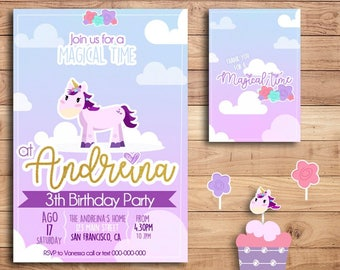 Party Invitations and Cupcake decorations