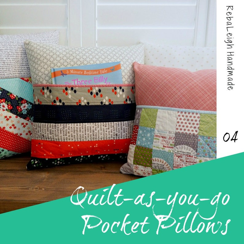 Quilt-as-you-go Pocket Pillow PDF pattern image 0