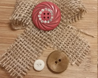Burlap Bow and Button Magnets