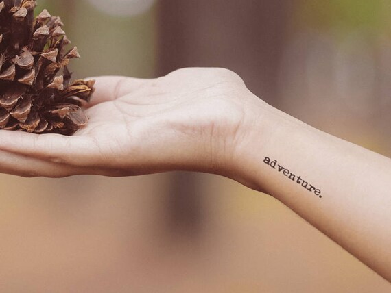 Temporary Tattoo Quote Word Font Adventure Brave Courage Text Realistic Stick On Transfer Fake Tattoo Sticker Valentines Gifts For Her