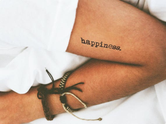 5bc69de2920fe Temporary Tattoo Quote Word Font Happiness Text / Realistic | Etsy