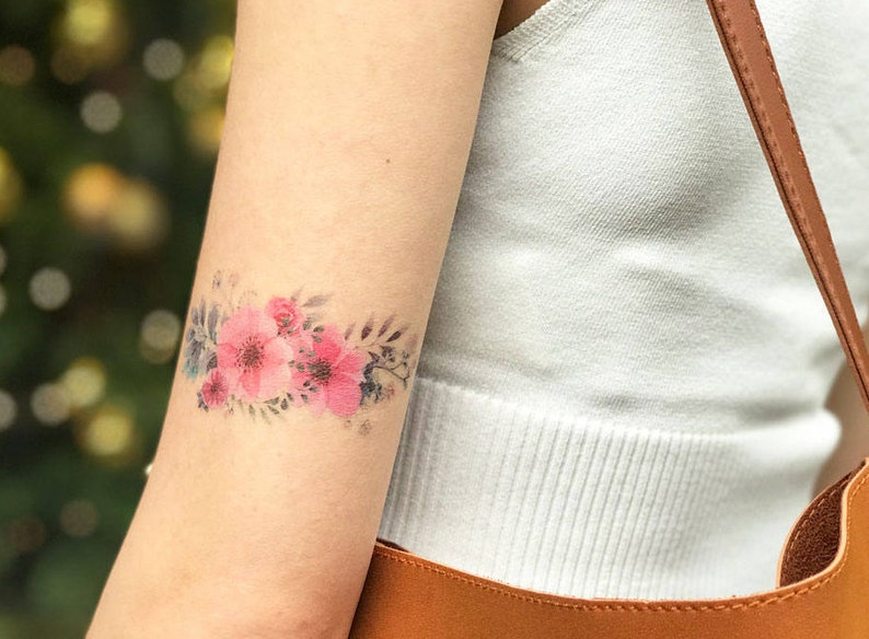 85e0f6fcf Temporary Tattoo Flower Watercolor Rose Peony Floral / Realistic Transfer  Stick ... Temporary Tattoo Flower Watercolor Rose Peony Floral / Realistic .