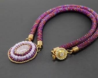 Bead crochet pendant necklace with Rose Quartz gemstone, Seed bead statement necklace, Handmade necklace, Gemstone pendant