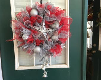 Red and silver star Christmas wreath