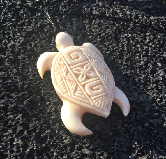 Polynesian Design Bone Carved Turtle Hawaiian Honu Necklace Etsy