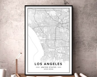 Los angeles map | Etsy