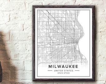 Milwaukee Map Etsy - Vintage milwaukee map