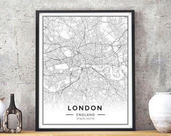 London Print, London Map, London Art, London Wall Art, London Wall Decor,  Map Of London, London City Prints, London England, City Maps Art